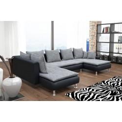Canapé d'angle 6 places DANTE gris et noir surpiqure noir