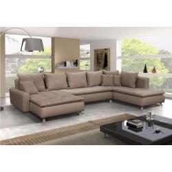 Canapé d'angle panoramique en U DANTE 6 à 7 personnes pour grande famille