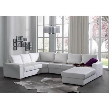 magnifique Canapé d'angle 6 places OARA blanc en cuir PU eclatant