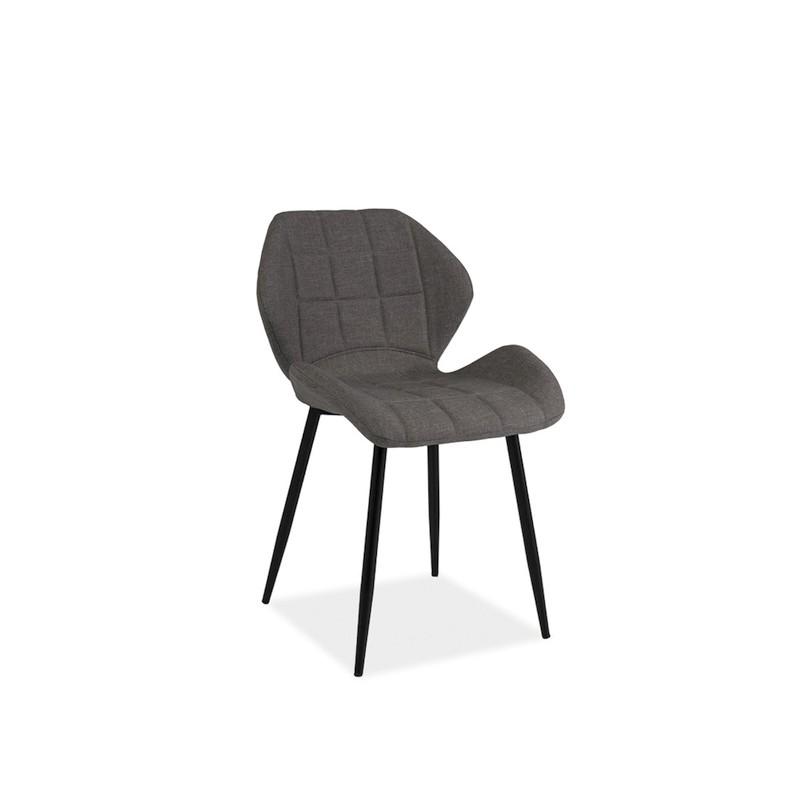 chaise design hals en tissu gris et pieds en m tal noir. Black Bedroom Furniture Sets. Home Design Ideas
