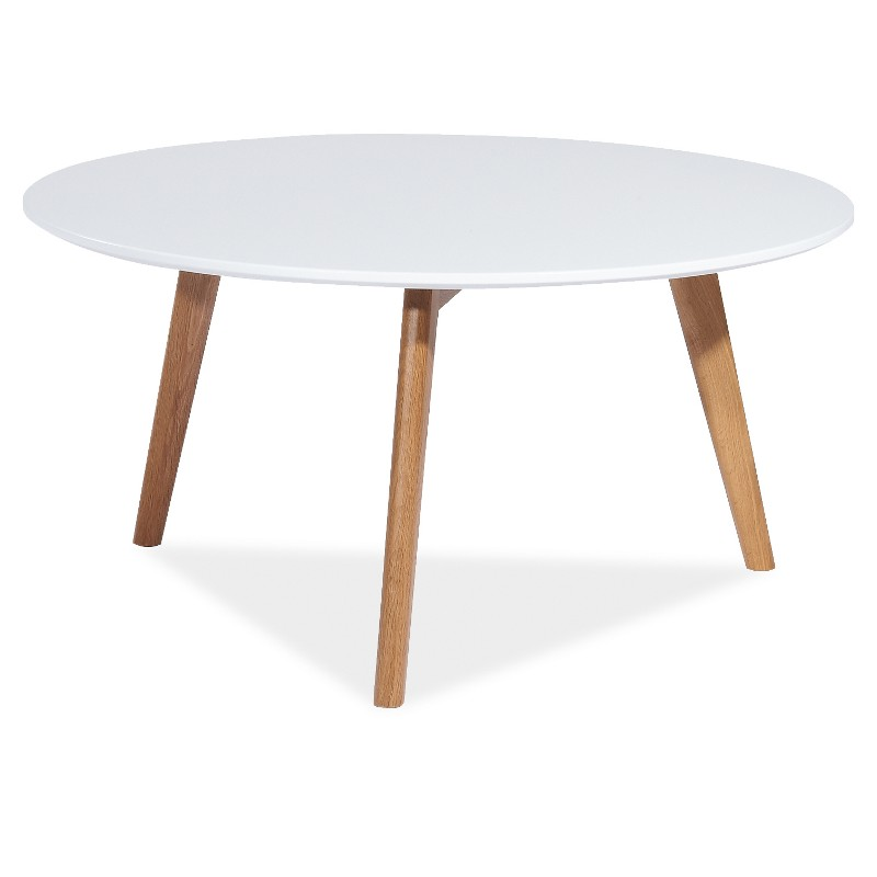 Table basse ronde milan style scandinave pied en bois for Petite table basse style scandinave