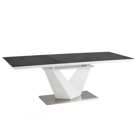 Grande table pliante ALARAS plateau en verre trempé noir