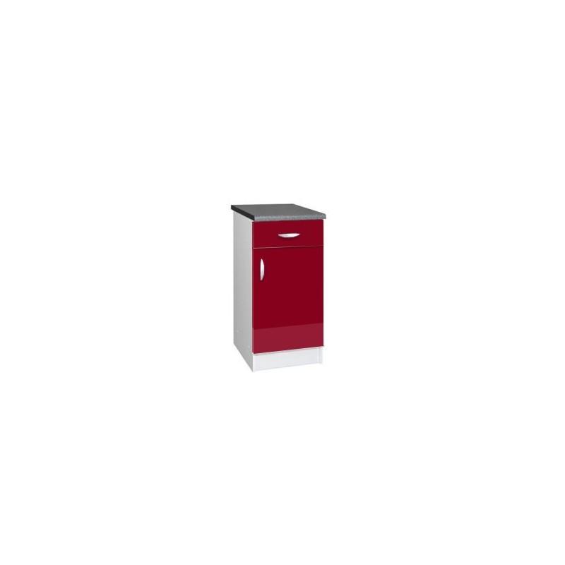 Meuble de cuisine bas 1 porte 50 cm oxane laqu brillant for Meuble bas cuisine largeur 50 cm