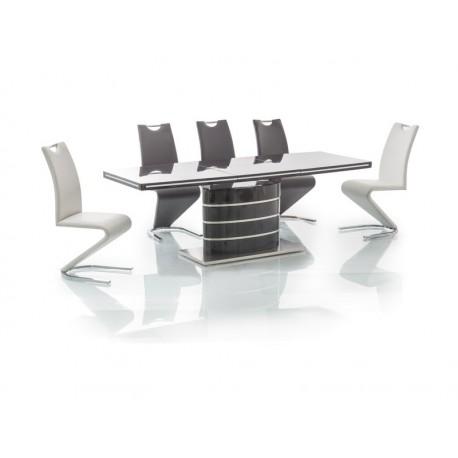 Table fano avec rallonge en mdf noir laqu 8 personnes - Table noire avec rallonge ...