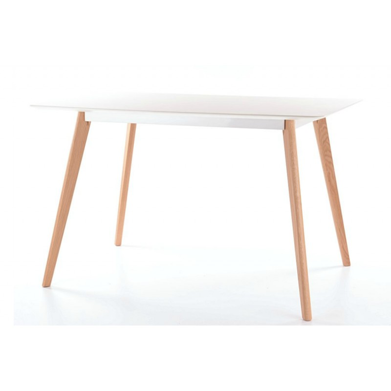 Table milan style scandinave plateau blanc mat mdf pieds for Table scandinave blanc