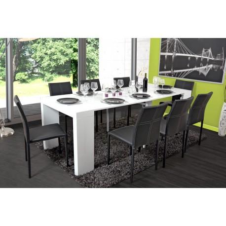 Table extensible ALGA blanc laqué