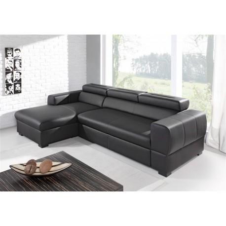 Canapé d'angle convertible DEAYA noir avec coffre et têtières ajustables
