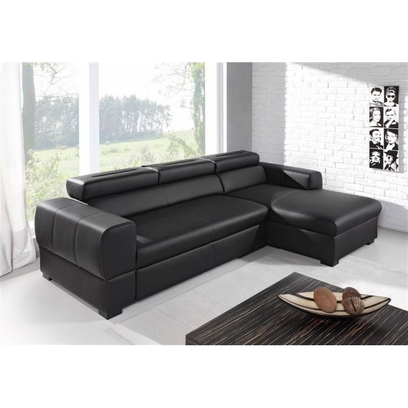canap d 39 angle convertible deaya noir avec coffre et t ti res ajustables. Black Bedroom Furniture Sets. Home Design Ideas