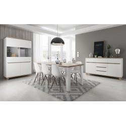 Salle à manger complète LIER style scandinave nordique tendance blanc et bois