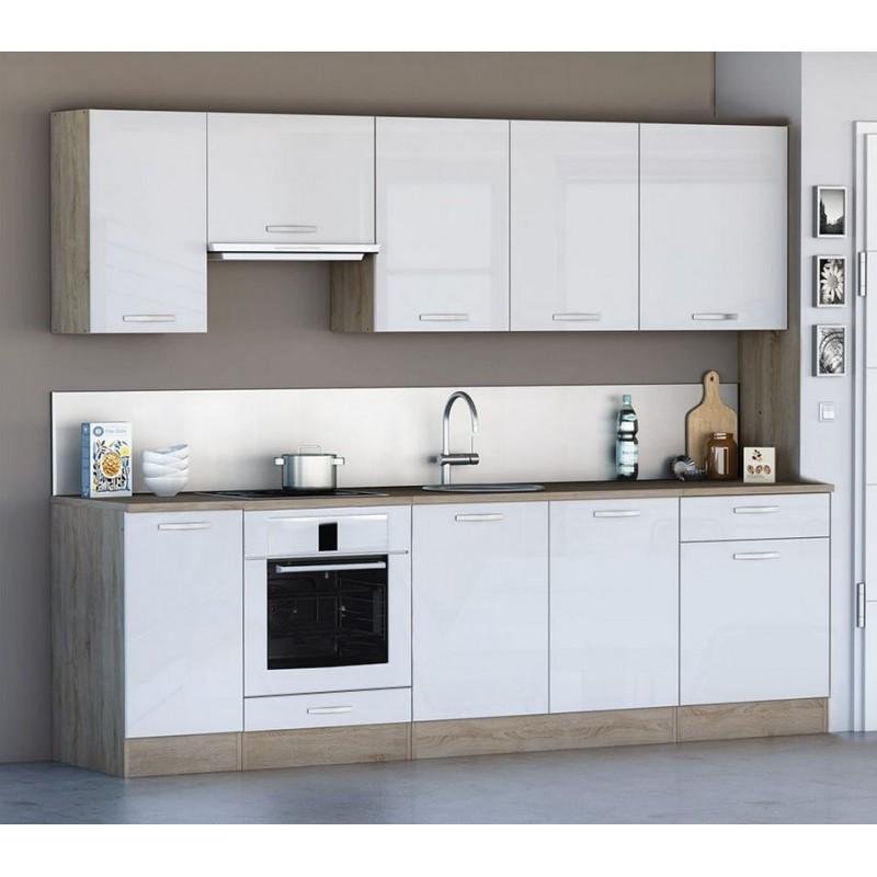 cuisine compl232te 260 cm scand style scandinave blanc et bois