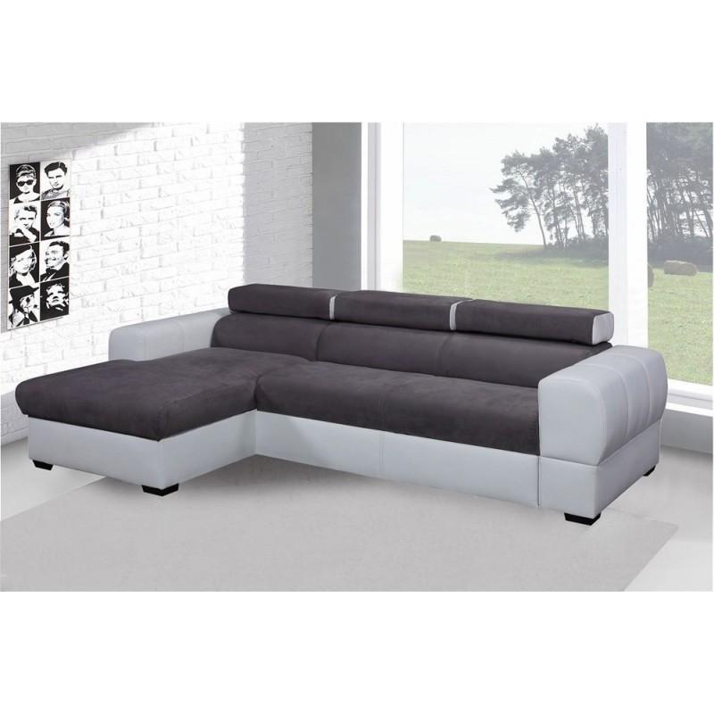 canap d 39 angle convertible deaya gris et blanc avec coffre et repose t tes. Black Bedroom Furniture Sets. Home Design Ideas