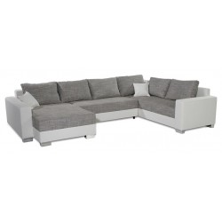Canapé d'angle panoramique STILL gris et blanc convertible