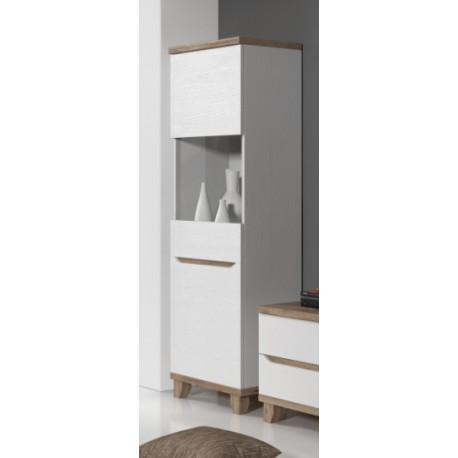 vitrine 1 porte lier de 75 cm style scandinave en blanc et bois. Black Bedroom Furniture Sets. Home Design Ideas