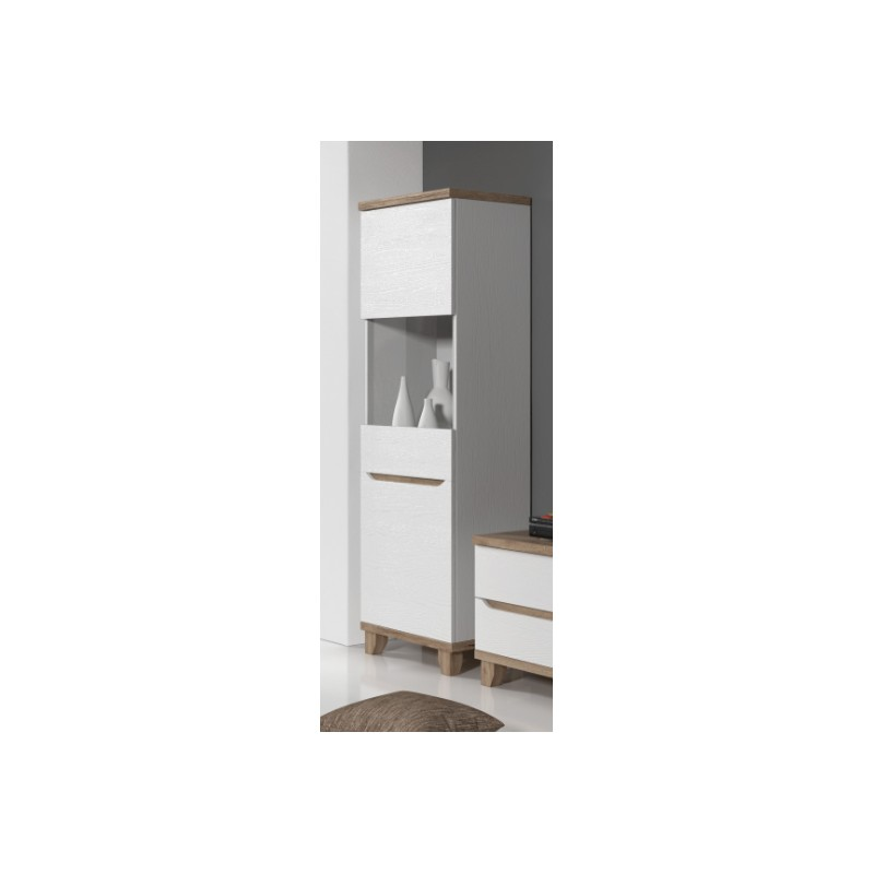 vitrine 1 porte lier de 75 cm style scandinave en blanc et. Black Bedroom Furniture Sets. Home Design Ideas