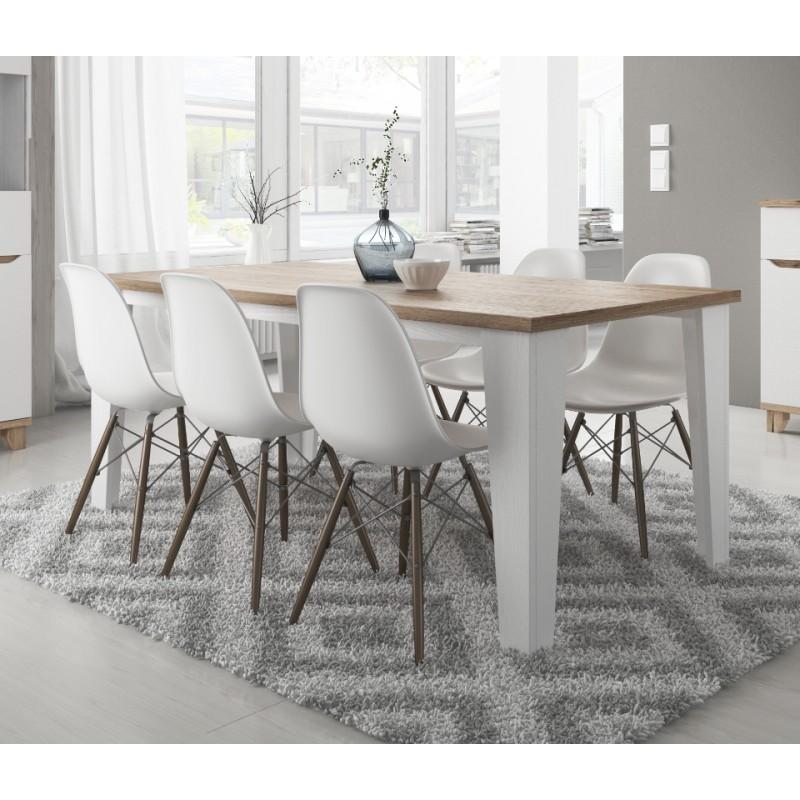 table lier couleur blanc et bois style scandinave. Black Bedroom Furniture Sets. Home Design Ideas