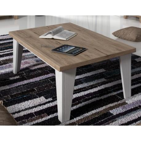 table basse carr e lier couleur blanc et bois style scandinave. Black Bedroom Furniture Sets. Home Design Ideas