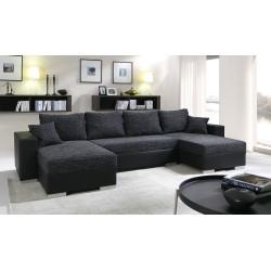 Canapé d'angle convertible panoramique ENNO gris et blanc magnifique et pas cher