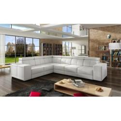 Grand canapé d'angle 6 places CAARIA blanc en eco cuir