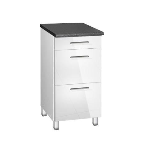 Meuble de cuisine bas 40 cm 3 tiroirs TARA laquée blanc avec pieds réglables pour rangement de vos couverts