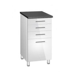 Meuble de cuisine bas 40 cm 4 tiroirs TARA blanc avec pieds réglables chrome
