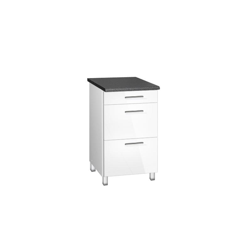 meuble de cuisine bas 50 cm 3 tiroirs tara avec pieds r glables. Black Bedroom Furniture Sets. Home Design Ideas