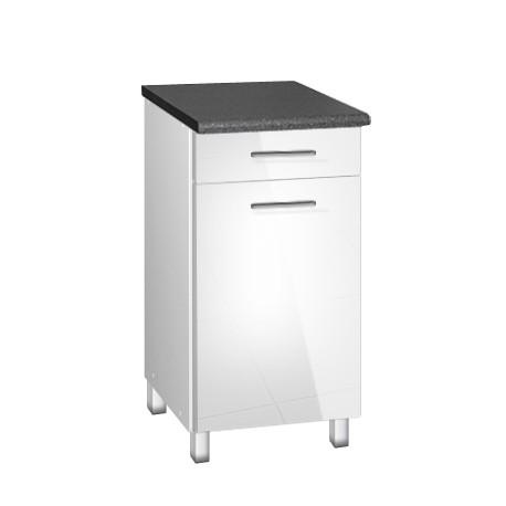 Meuble de cuisine 40 cm 1 tiroir TARA brillant blanc avec pieds réglables