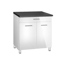 Meuble de cuisine 80 cm 1 tiroir 2 portes TARA blanc avec pieds réglables