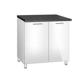 Meuble de cuisine bas 90 cm 2 portes TARA blanc avec pieds réglables