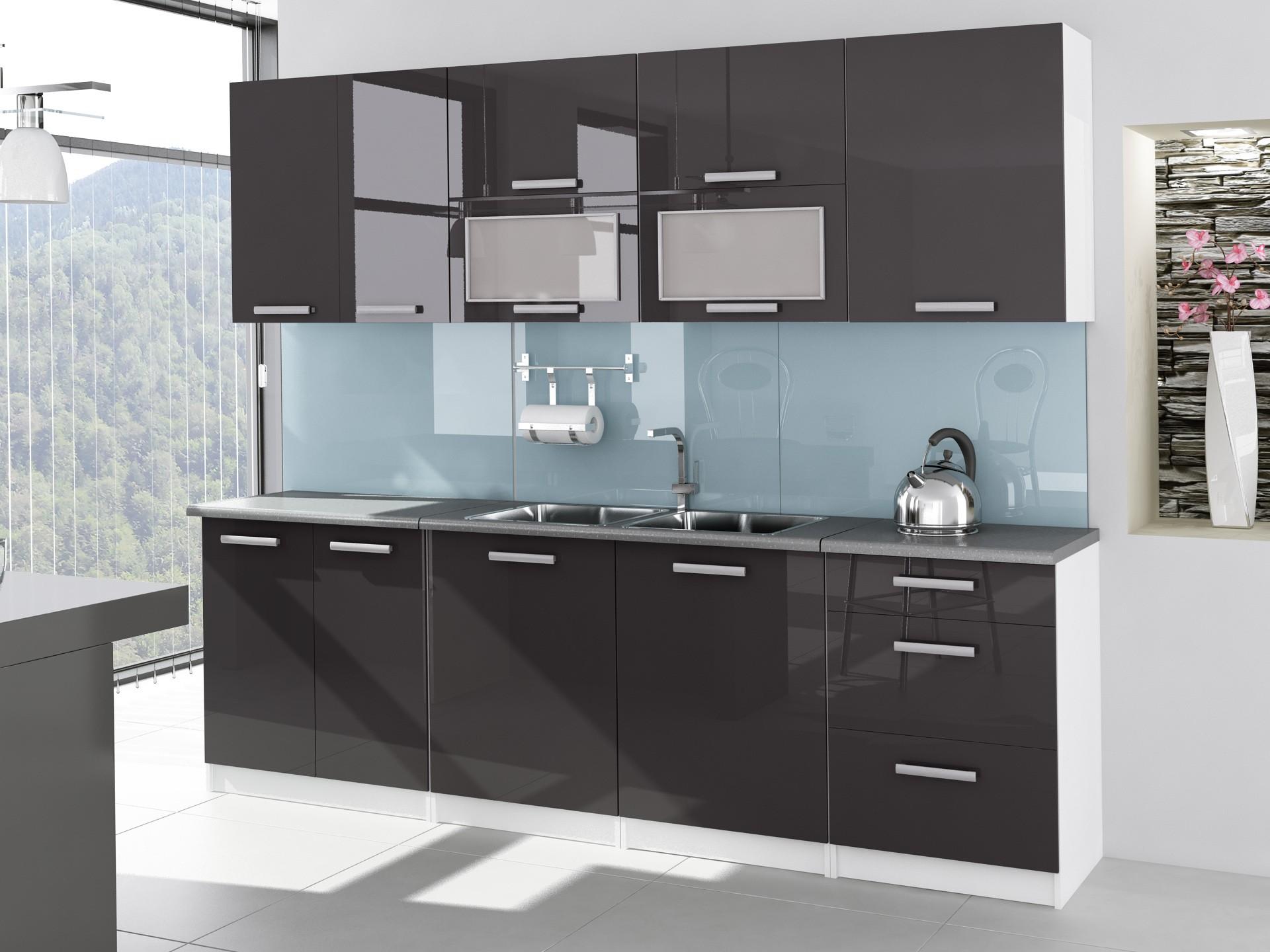 Cuisine Complete 2m60 Laquee Grise Tara Design Moderne