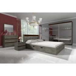 Chambre complète LATTE avec lit + tiroirs couleur bois sonoma gris trufla