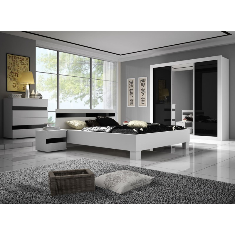 chambre coucher lucca ultra moderne et design en noir et blanc. Black Bedroom Furniture Sets. Home Design Ideas
