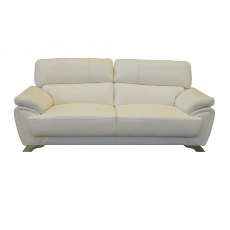 canapé 3 places trieste simili cuir blanc haute qualité, grand confort et bon maintient du dos