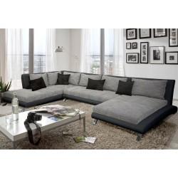 Canapé d'angle en U design CAYEN gris et noir