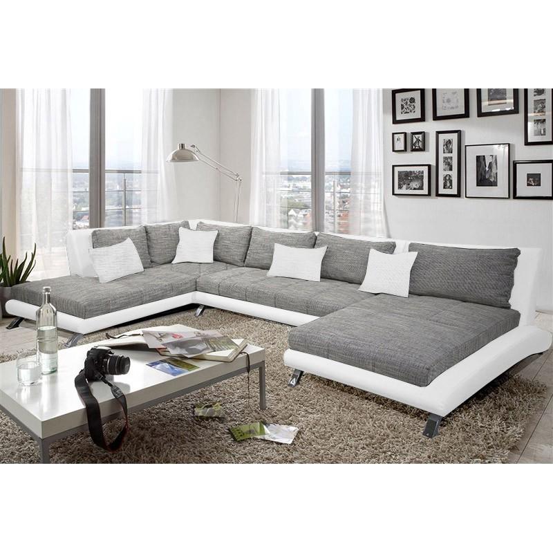 canap dangle panoramique design cayen gris et blanc moderne position basse - Canape Gris Design