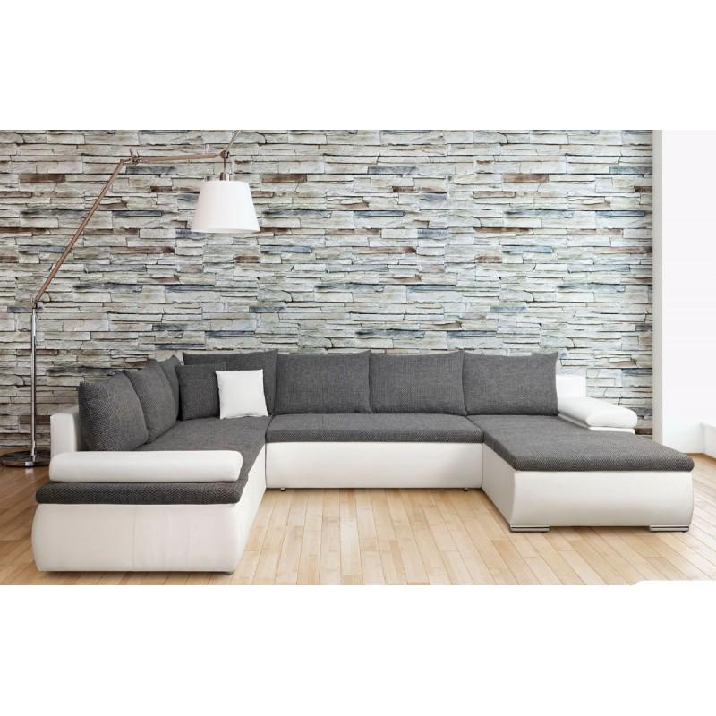 canap d 39 angle panoramique convertible en lit cesaro u. Black Bedroom Furniture Sets. Home Design Ideas