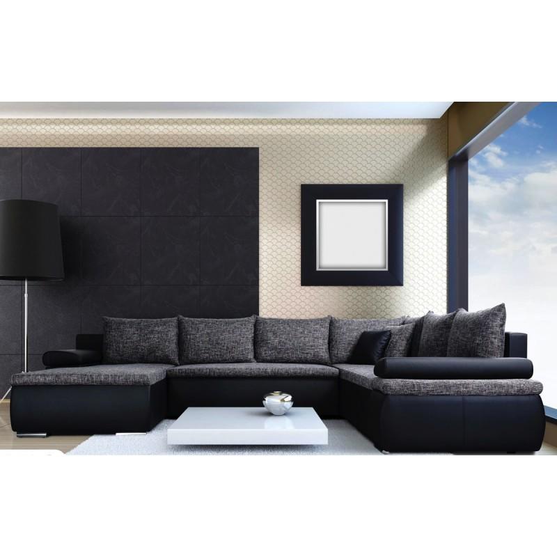 Canapé d'angle panoramique convertible en lit CESARO U.