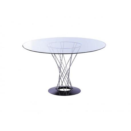 Table STORM en fil d'acier entrelacé avec plateau en verre