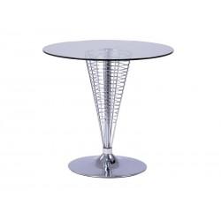 Table de designer COSMO en fil d'acier avec plateau en verre