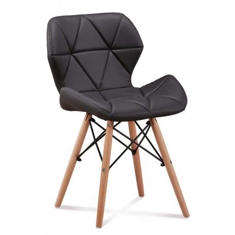 Chaise scandinave ELIOT matelassée pied en bois dsw