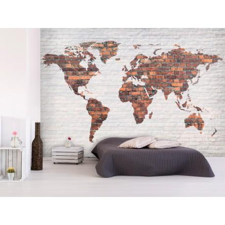 Papier peint World MAP mur en brique voyage