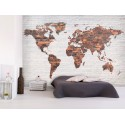 Papier peint World MAP mur en brique