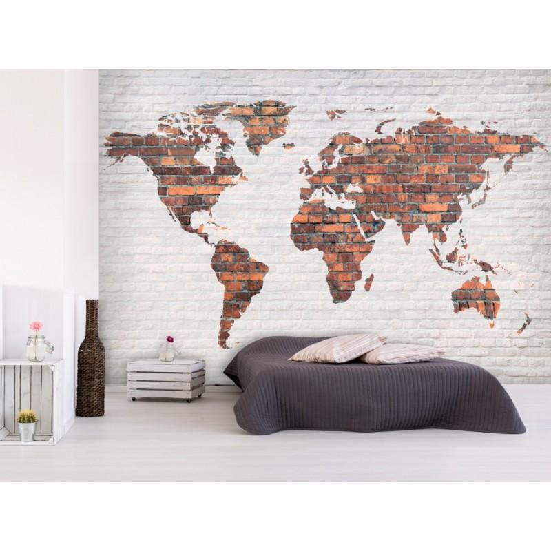papier peint world map mur en brique tendencio. Black Bedroom Furniture Sets. Home Design Ideas