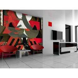Papier peint Composition artistique en rouge