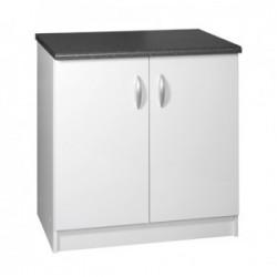 Meuble de cuisine bas sous-évier 2 portes 80 cm OXANE laqué brillant