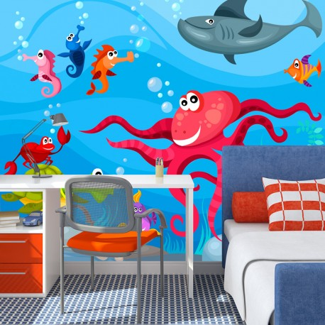 papier peint pour chambre d 39 enfant poulpe et requin. Black Bedroom Furniture Sets. Home Design Ideas