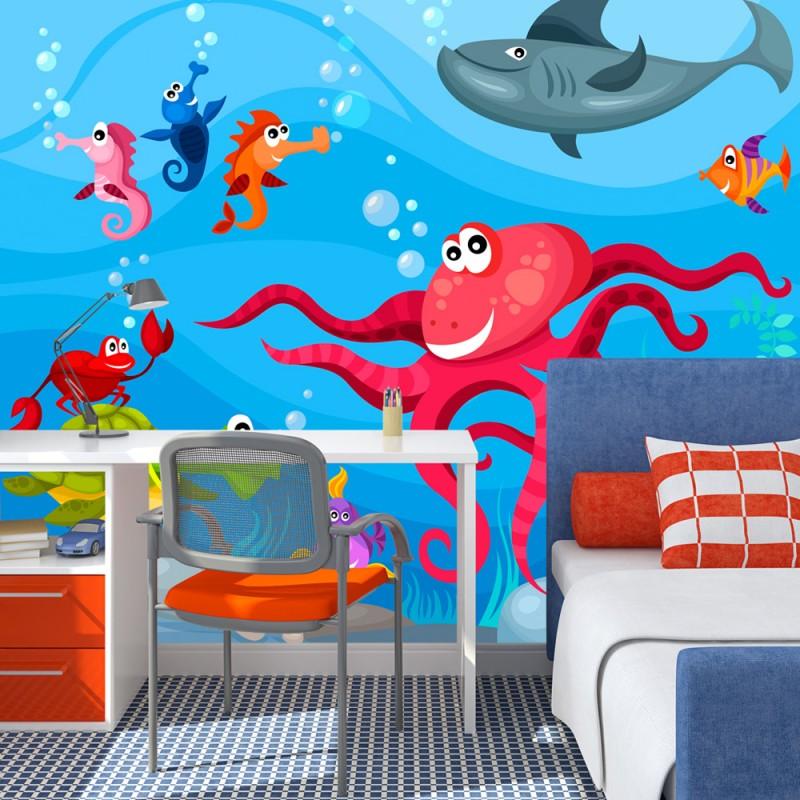 papier peint pour chambre d 39 enfant poulpe et requin tendencio. Black Bedroom Furniture Sets. Home Design Ideas