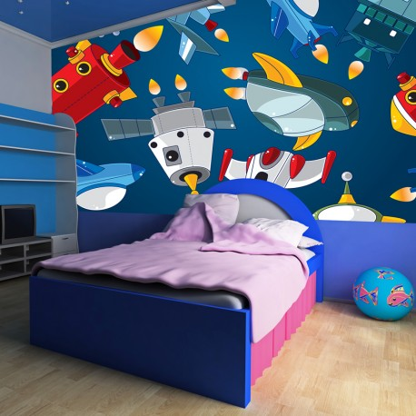 papier peint pour chambre d 39 enfant vehicules spatiaux tendencio. Black Bedroom Furniture Sets. Home Design Ideas