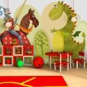Papier peint pour chambre d'enfant : DRAGON ET CHEVALIER