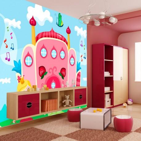 Papier peint pour chambre d\'enfant : château princesse - TENDENCIO