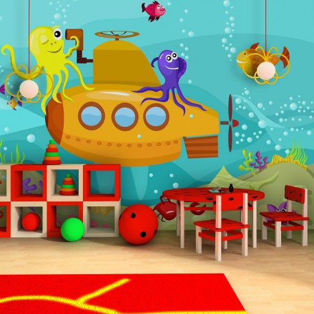 Papier peint pour chambre d'enfant : Sous-marin, poisson et monde aquatique